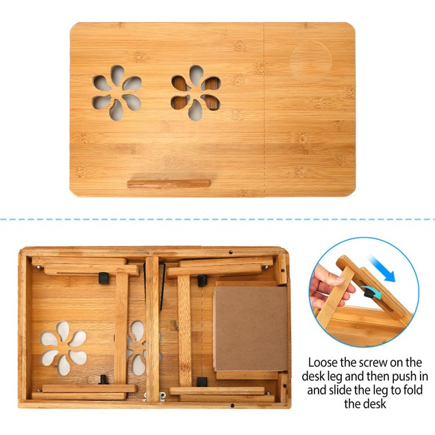Foldable Bamboo Laptop Desk Breakfast Serving Bed Tray