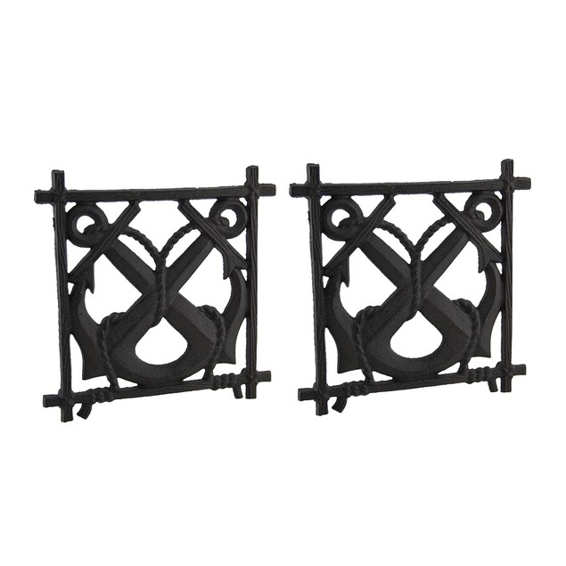 2 Piece Rustic Brown Crossed Nautical Anchors Cast Trivets