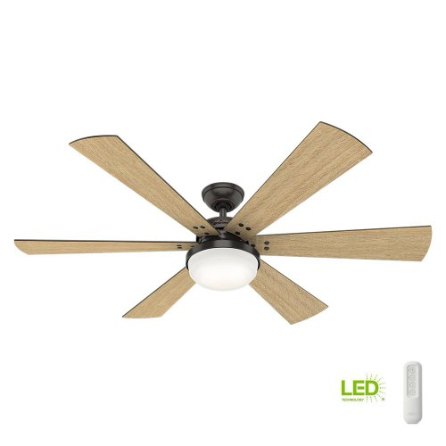 """Hunter Cavalry 60"""" LED Indoor Ceiling Fan with Handheld Remote, Noble"""