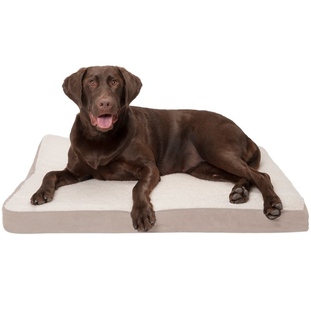 FurHaven Faux Sheepskin & Suede Deluxe Orthopedic Pet & Dog Bed