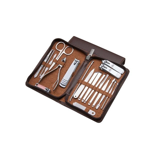 20-Piece Professional Stainless Steel Manicure/Pedicure Kit with Leather Case