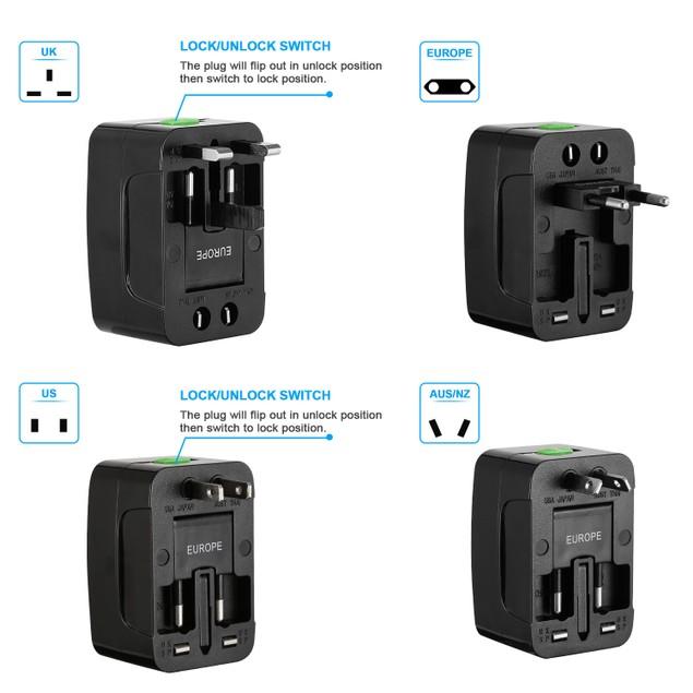 Universal Travel Adapter AC Power Plug Adapter US UK EU AUST