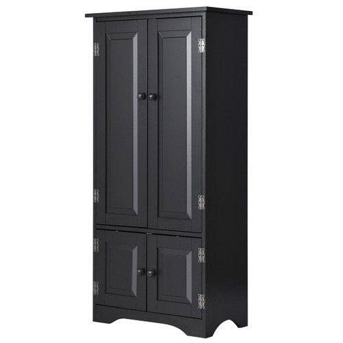 Costway Accent Storage Cabinet Adjustable Shelves Antique 2 Door Floor Cabi