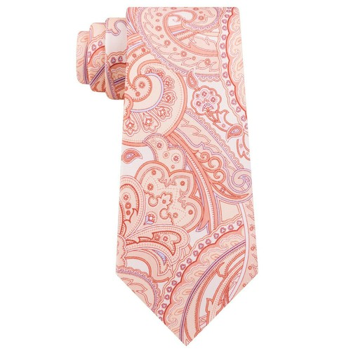 Michale Kors Men's  Perfect Movement Paisley Tie Orange One Size