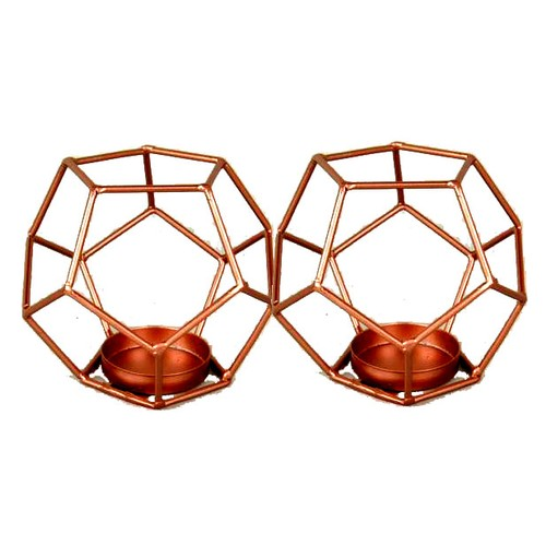 """Spura Home Antique Style Geometric Candle Holder 4"""""""