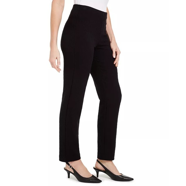 JM Collection Women's Textured Tummy-Control Pull-On Pants Black Size Large
