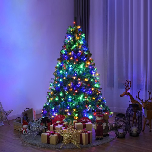 Costway 5Ft Pre-Lit Artificial Christmas Tree Hinged 150 LED Lights