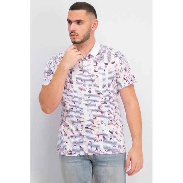 Alfani Men's Floral Striped Polo Shirt White Size Extra Large