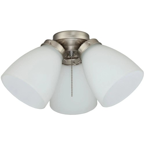 Elite 3-Light Brushed Nickel Finish Ceiling Fan Frosted Shades LED Light