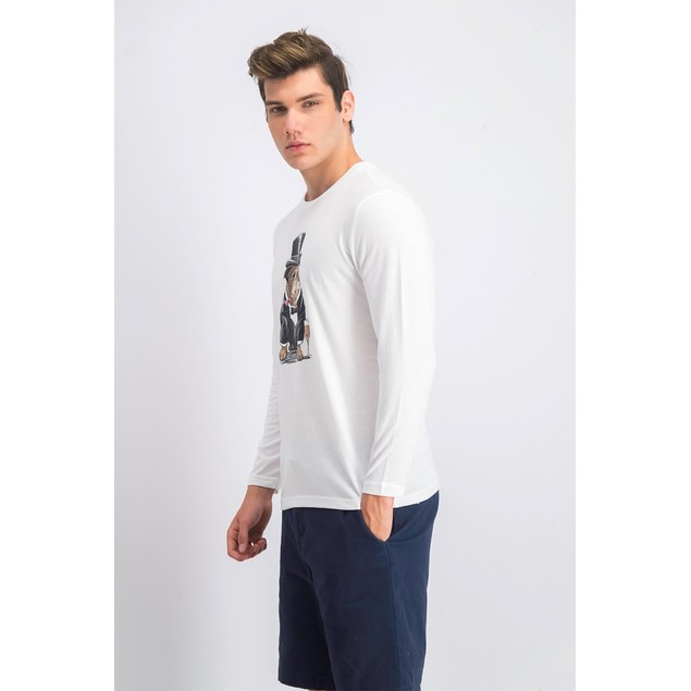 Club Room Bulldog Tuxedo Graphic Crewneck T-Shirt White 2 Extra Large