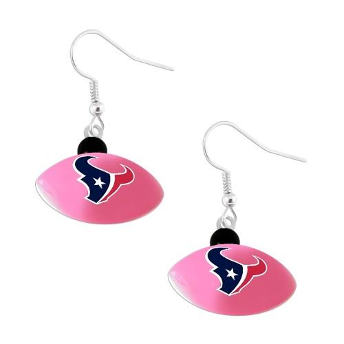 Houstan Texans Mini Football Dangle Earring Pink