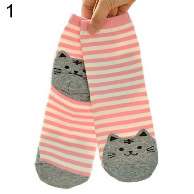 Women's 3D Cartoon Animals Striped Socks Cat Footprints Cotton Socks Floor