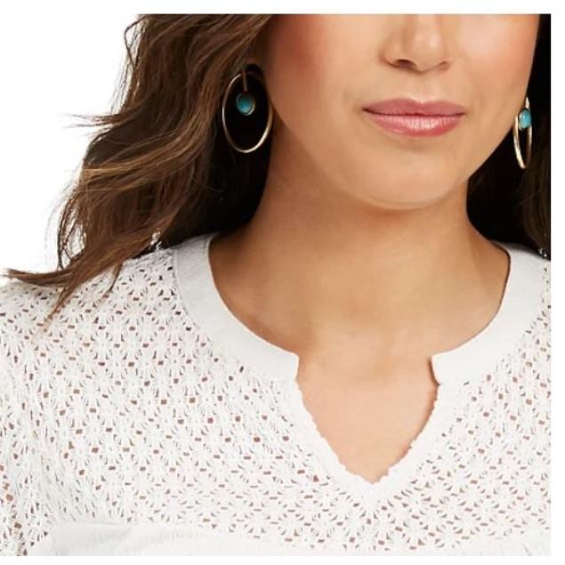 Style & Co Women's Crochet Yoke Top White Size X-Large
