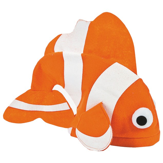 Felt Tropical Fish Hat Finding Nemo Clown Orange White Costume Accessory