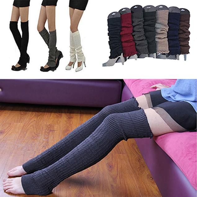 Women Winter Warm Knit High Knee Leggings Socks