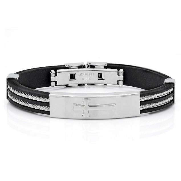 Stainless Steel Bracelet W/ Cross