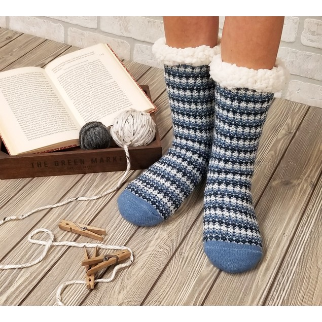 Gaahuu Womens Allover Fairisle Slipper Sock With Non Slip Bottom