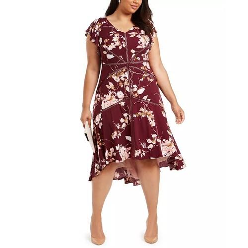 Taylor Women's Crochet Trim High Low Dress Red Size 18W