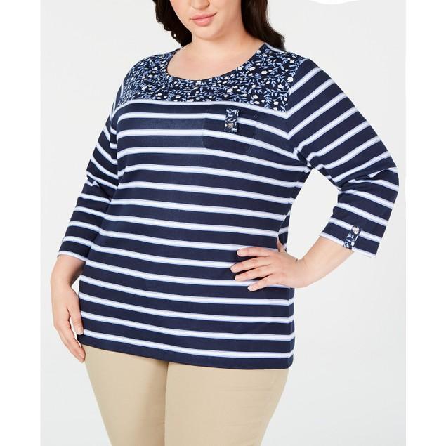 Karen Scott Women's Plus Size Printed 3/4-Sleeve Top Blue Size Extra Large