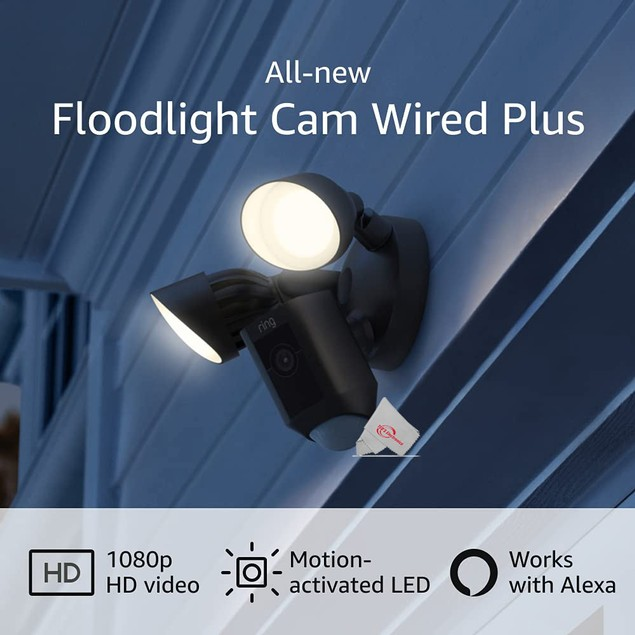 RING Floodlight Cam Wired Plus Motion-Activated 1080p HD Black