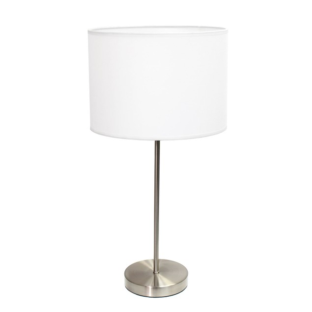 Simple Designs Brushed Nickel Stick Lamp with Fabric Shade