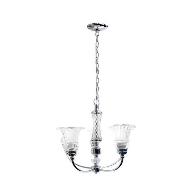 Elegant Designs 5 Light Glass Ceiling Glacier Petal Chandelier - Chrome