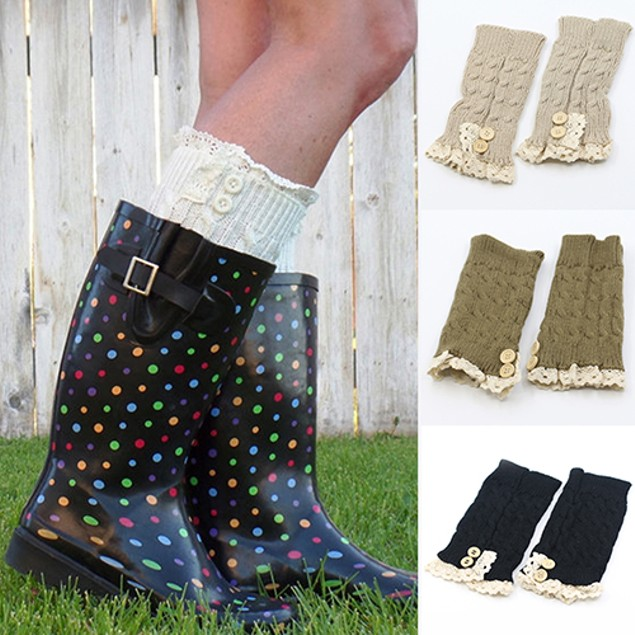 Lady Crochet Knitted Lace Trim Boot Cuffs Toppers Leg Warmers Winter Socks