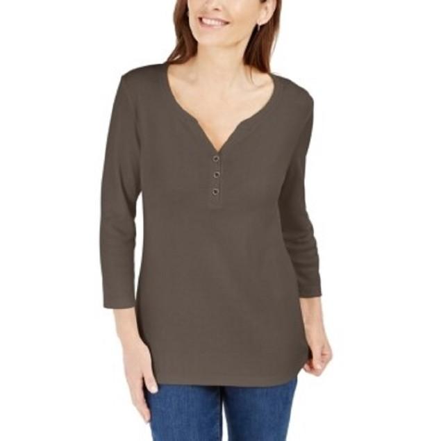 Karen Scott Women's Cotton Henley Shirt Brown Size Petite Small