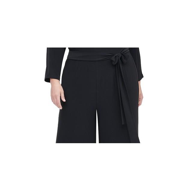 Tommy Hilfiger Women's Surplice Wide Leg Jumpsuit Black Size Petite Small