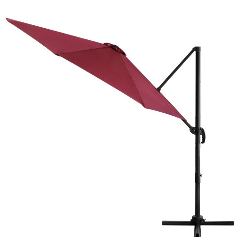 10ft Umbrella Side Hanging Offset Outdoor Patio 360° Rotation Integrated Lifting System Cross Base Red Wine