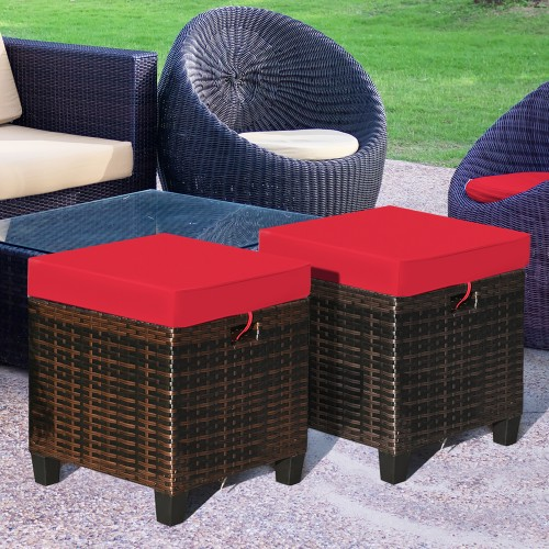 Costway 2PCS Patio Rattan Ottoman Cushioned Seat Foot Rest Coffee Table Red