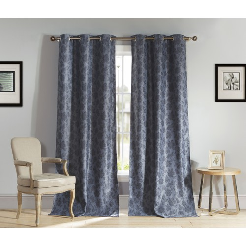Floral Blackout Room Darkening Grommet Window Curtains - Set of 2