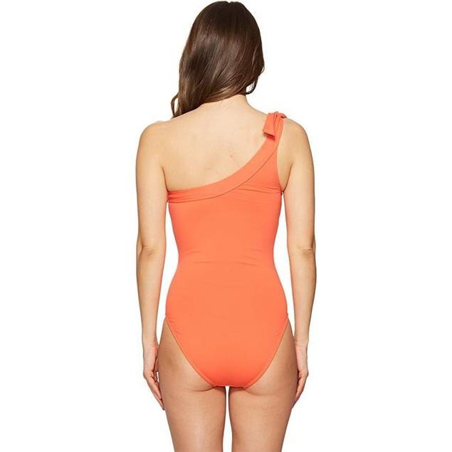Letarte Women's One Shoulder One-Piece Hot Coral Swimsuit Sz: L