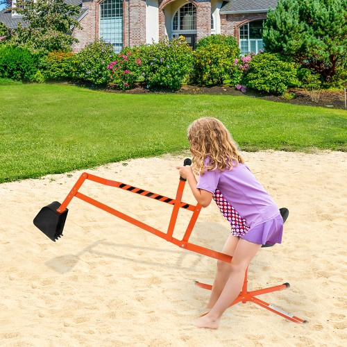 Outdoor Kids Sand Digger Ride On With 360°Rotatable Seat And Metal Base - 2 Colors