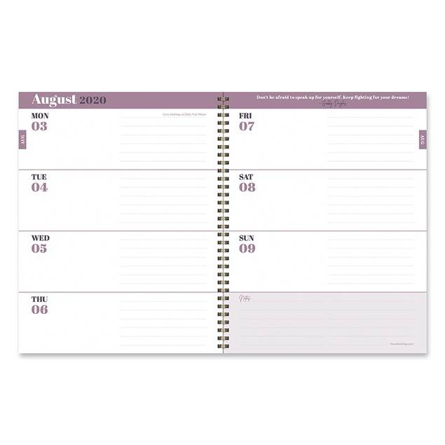 July 2020 - June 2021 Feminine Large Daily Weekly Monthly Planners