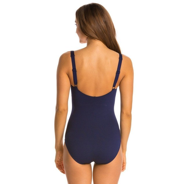 TYR Solids Twist Bra Controlfit Swimsuit Women's Navy SZ 6