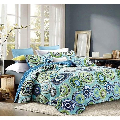 2PC Silk Road Printed Quilt King/Queen Polyester Bed Sheet Set 2 Shams