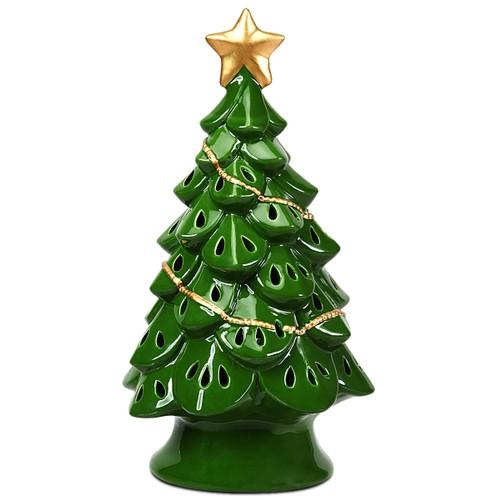 Costway 11.5''Pre-Lit Ceramic Christmas Tree Tabletop Lights Green