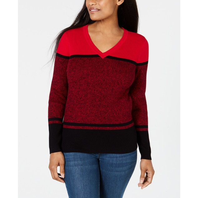 Karen Scott Women's Striped V-Neck Cotton Sweater Red Size Small