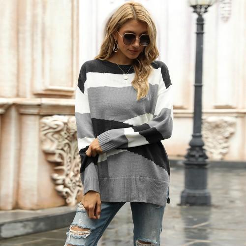 Women's Irregular Striped Color-Block Sweater