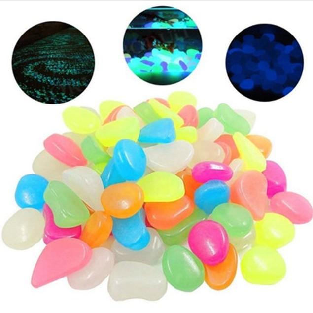 100Pcs Luminous Pebble Garden Fish Tank Artificial Stone Luminous Colored Pebble Stone Fluorescence