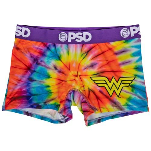DC Wonder Woman Symbol Tie Dye Microfiber Blend Boy Shorts Underwear