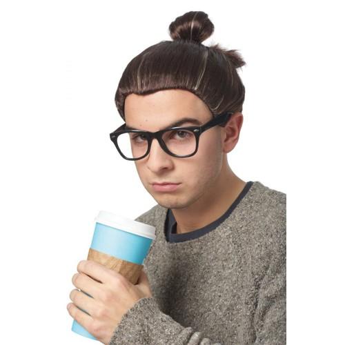 Man Bun Brown Adult Wig Hipster Hair Topknot Mens Trendy Celebrity Long Hip