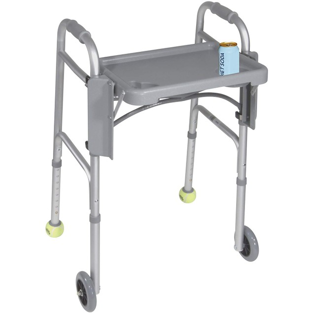 Luxury Two-Button Walker, Foldable with 5-inch Wheels, 6 Pounds, Universal,