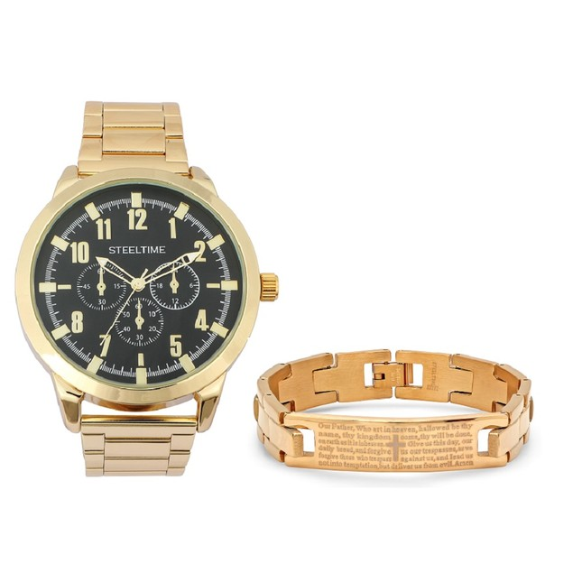 Bracelet & Watch Set W/ Gold Our Father Id Bracelet