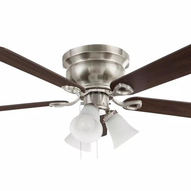 Clarkston II 44 in. LED Indoor Brushed Nickel Finish Ceiling Fan w/ Light
