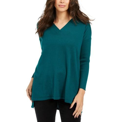 Style & Co Women's V-Neck Tunic Sweater  Green Size Medium