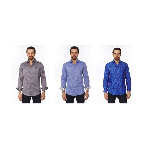 Suslo Couture Men's Slim Fit Long Sleeve Casual Solid Button Down Shirt