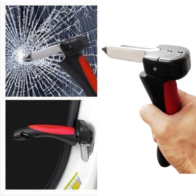 Portable Handle Car Cane Aid Auto Flashlight Glass Breaker Seatbelt Cutter