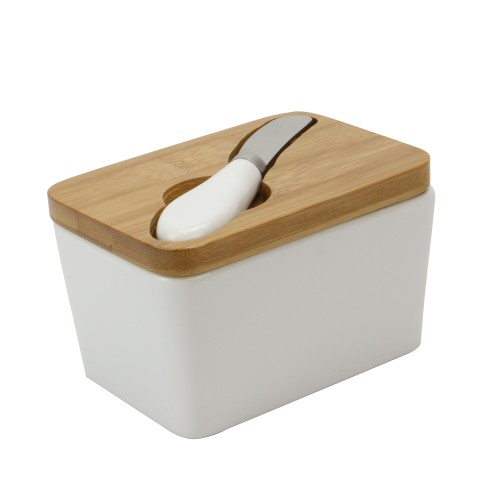 White Porcelain Butter Dish with Knife | MandW